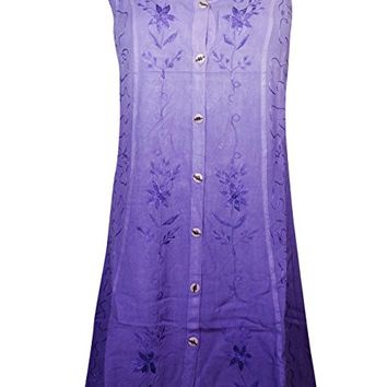 Mogul Womens Shift Dress Button Front Embroidered Bohemian Sexy Holiday Dresses
