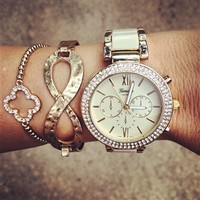 Tan Gold Bling Watch