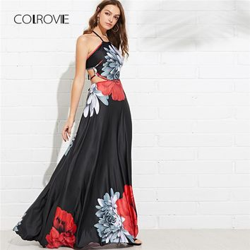 COLROVIE Black Cut Out Criss Cross Back Floral Halter Summer Dress Backless Vacation Maxi Dresses Elegant Women Dresses