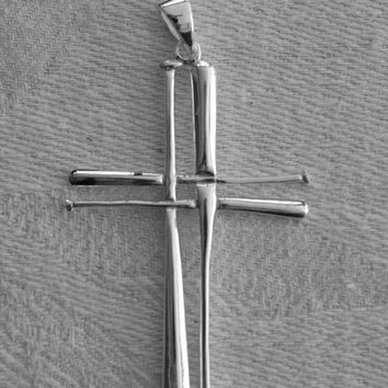 Stainless Steel Softball or Baseball Bats Cross Pendant