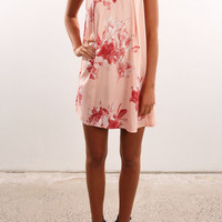 Floral Print Loose Sleeveless Round Neck Mini Dress