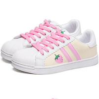 Fashion Strawberry shell toe Casual Running Sport Shoes  white pink line