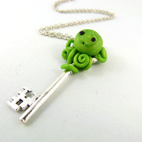 Lime Green Tangled Baby Octopus Key Necklace by angelyques on Etsy