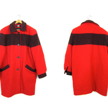 Vintage Woolrich 1 Point Striped WOOL BLANKET Coat Red Black Wool Trapper Coat Long Pea Coat Preppy Hunting Coat Boho Mod Womens Medium