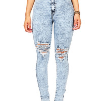 Worn Out High Waist Skinnys | Trendy Denim at Pink Ice