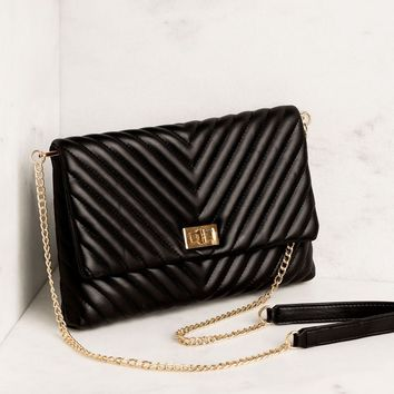 Perfect Timing Black Chevron Handbag