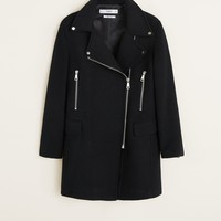 Zippers detail coat - Women | MANGO USA
