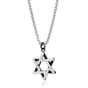2 Tone Star of David Necklace-Men