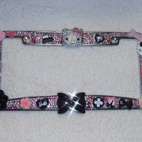 Classy Chic License Plate Frame Bling Kitty Cat Crystallized Kawaii