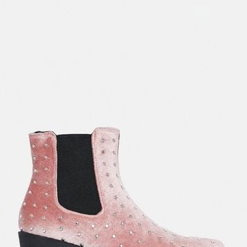 Missguided - Pink All Over Studded Velvet Western Boots