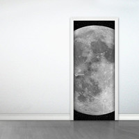 Door to the Moon /sticker (full moon door deco-sticker)