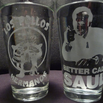Breaking Bad 16 oz Glasses Set of 2 by geekyglassware on Etsy