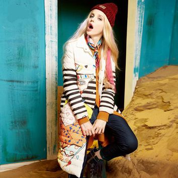 Brand Design Winter Down Jacket 2016 Retro Oil Painting Mixed Colors Printed White Duck Down Jacket Women Long Coat High Quality
