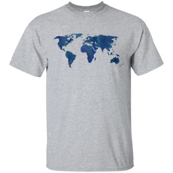 midnight blue watercolor world map sweatshirt T-Shirt