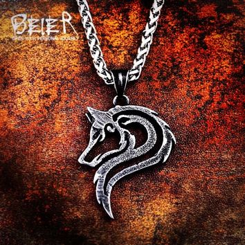 Beier 316L stainless steel hot sell viking wolf men necklace celt wolf head pendant Fashion Jewelry LP302