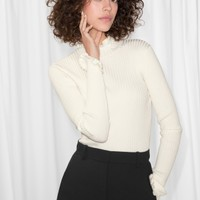 & Other Stories | Ruffles And Ribbed Turtleneck | White