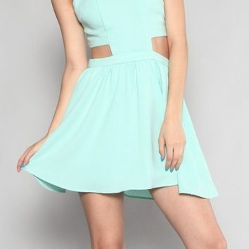 Mint Sleeveless Flare Dress with Cutout Sides & Open Back