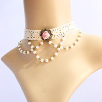 Chic Beaded Pendant Rose Embellished Lolita Lace Necklace For Women