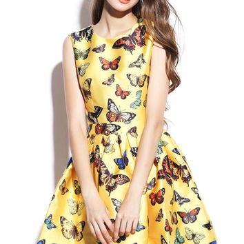 Yellow Butterfly Print Sleeveless Mini Skater Dress