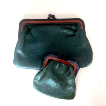 Green Leather Makeup Case Set Matching Small Purse Made in Italy 1970s Cosmetic Bag Purse Clutch