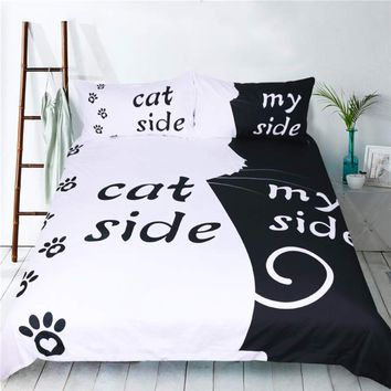 New Black & White Style Bedding Set Creative Dog/Cat Side With My Side Duvet Cover Pillowcase Couple Bed Set Home Textile