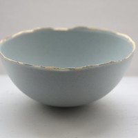 Stoneware Parian porcelain bowl in duck egg blue with mat gold rims.