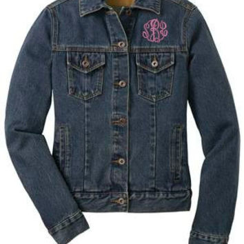Monogrammed Plus Size Denim Jean Jacket - Blue Denim Coat - Boyfriend Jacket - Casual Coat - Curvy Girl - XL to 4XL!