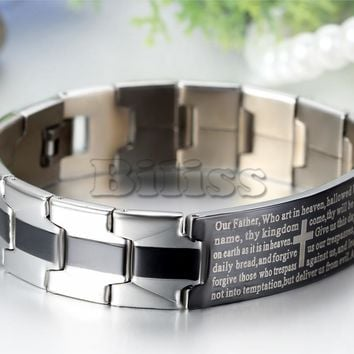 SHIPS FROM USA Fashion English Lord's Prayer Bracelet Men Chain Link Stainless Steel Cross Bangle 8.1 inch 16mm Width pulseira masculina