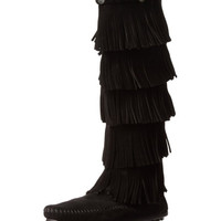 Minnetonka 5 Layer Fringe 1659 Black Boots