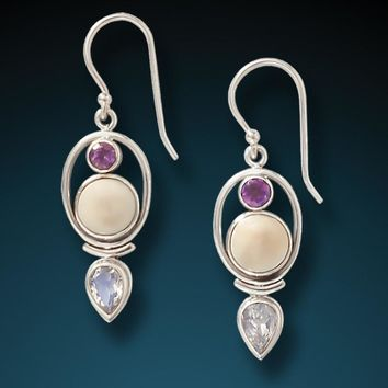 """Finding Balance"" Fossilized Mammoth Ivory, Amethyst, Moonstone and Sterling Silver Earrings"
