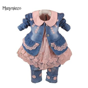 Baby Girl Clothes Sets 2017 Brand Baby Girls Denim Suit Jacket+T-shirt+Jeans Kids 3pcs Suits Infant Baby Clothing Costume