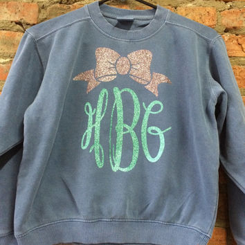 Glitter Monogram & Bow Comfort Colors Youth Sweatshirt