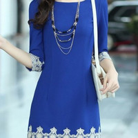 Blue Lace Embellished Quarter Sleeved Sheath Dress