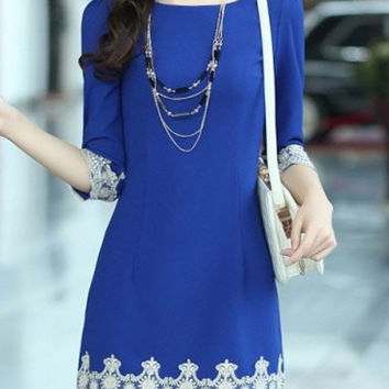 Blue Lace Panel Mini Dress