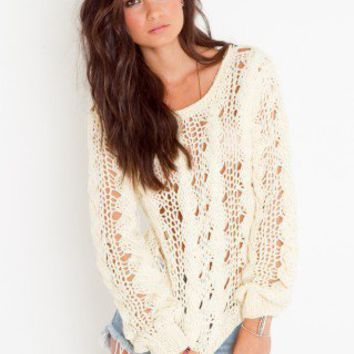 Chunky Cable Knit - Cream - NASTY GAL