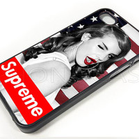Lana Del Rey Supreme American Flag PC 007 - Print on Hard Cover - For iPhone 4, iPhone 4S, and iPhone 5 Case - Black, White, and Clear