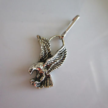 Silver tone carve flying eagle charm zipper pull - jacket pull - purse pull - eagle zipper pull - eagle charm zipper pull - pull eagle charm
