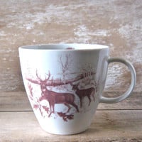 Mug with Deer and Tree Woodland Animal by SecondChanceCeramics