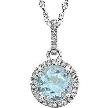 14kt White Gold Sky Blue Topaz & Diamond Halo Necklace