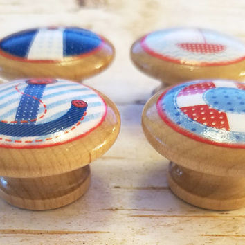 Handmade Nautical Birch Wood Knobs, Set of 4 Patchwork Nautical Drawer Pulls, Anchor, Sailboat, Kid's Dresser, Beach Decor, Nursery Decor