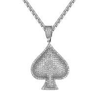 Bling Poker Playing 3D Card White Gold Tone Ace Of Spade Charm