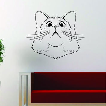 Cat Face V2 Funny Decal Sticker Wall Vinyl Art Home Room Decor Decoration Animal Pet Teen Kitten Kitty