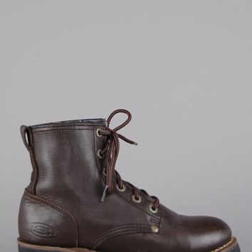 Chunky Lace Up Leather Work Boots