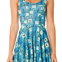 Blue Sleeveless Adventure Time Print Skater Dress