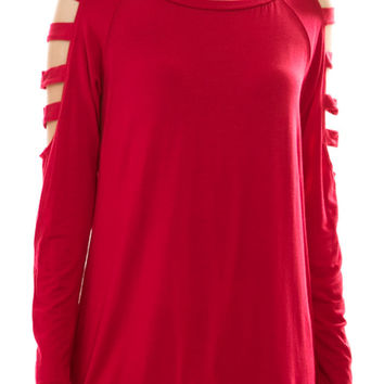 Long Sleeve Hi Low Top W/ Shoulder Cutouts