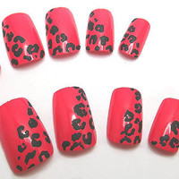 Press On Nails Leopard Print Red Animal Print