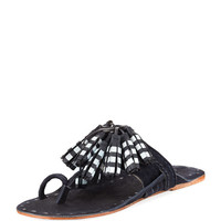Figue Scaramouche Tassel-Trim Toe-Ring Sandal