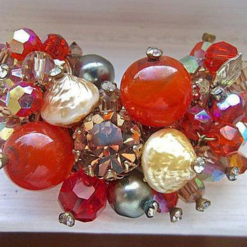 VENDOME Multi Color Brooch Beads Rhinestones, ABs, Art Glass, Lava Beads, Filigree Base, Vintage