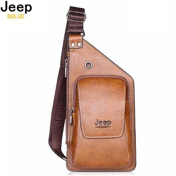 JEEP BULUO Leather Crossbody Chest Bag