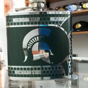 NCAA Michigan State Spartans 6oz Stainless Steel Flask with 360 Wrap